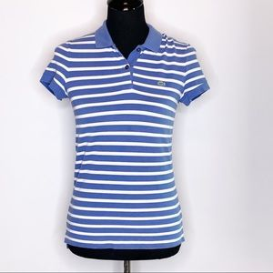 Lacoste blue and white striped polo 36